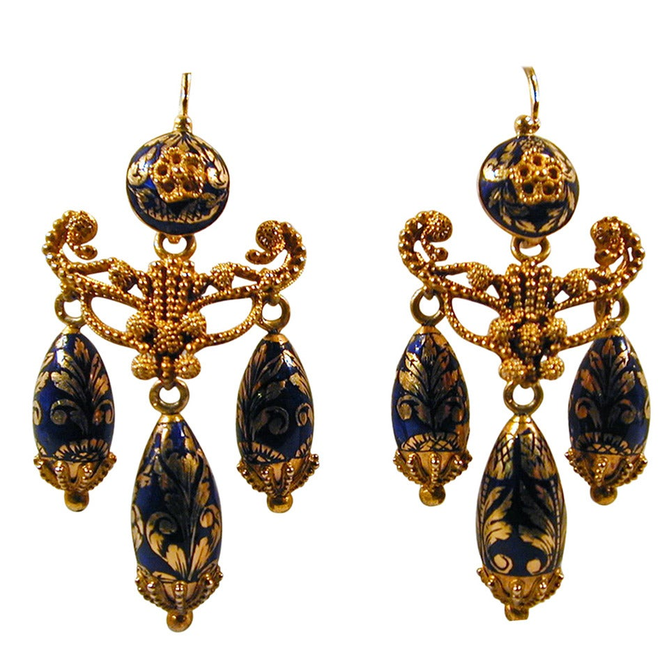 Antique Enamel Gold Girandole Earrings For Sale