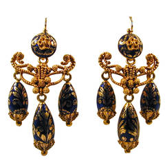 Antique Enamel Gold Girandole Earrings