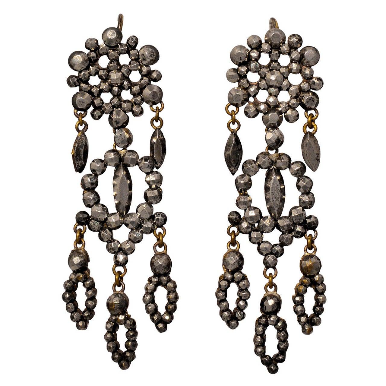 Antique Cut Steel Drop Earrings