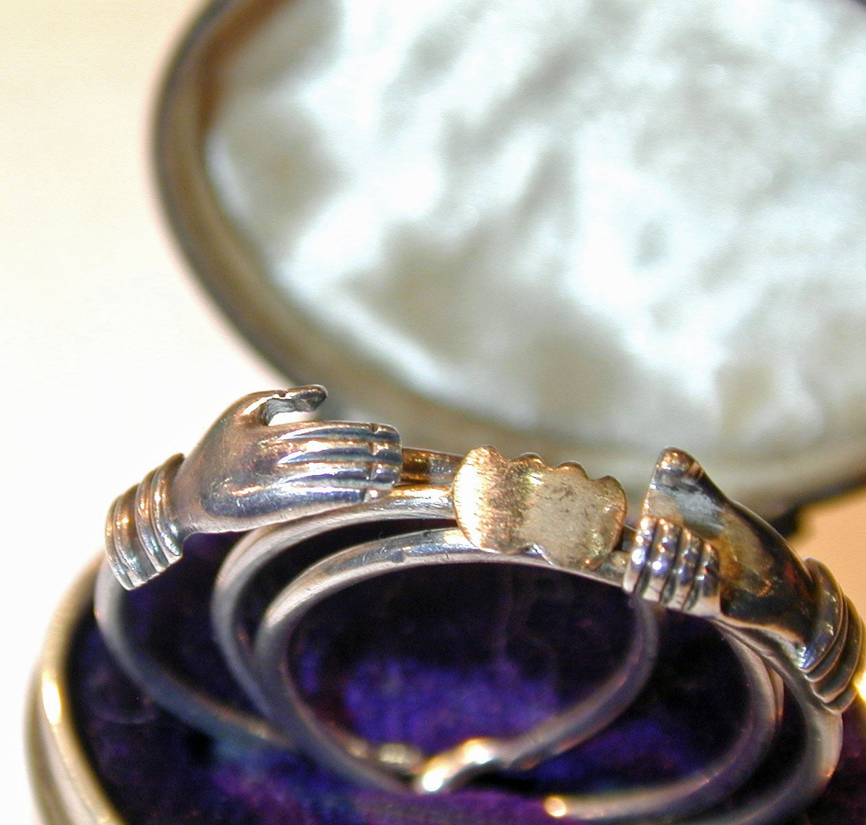 Antique Sterling Betrothal Ring with Clasped Hands over a heart 4