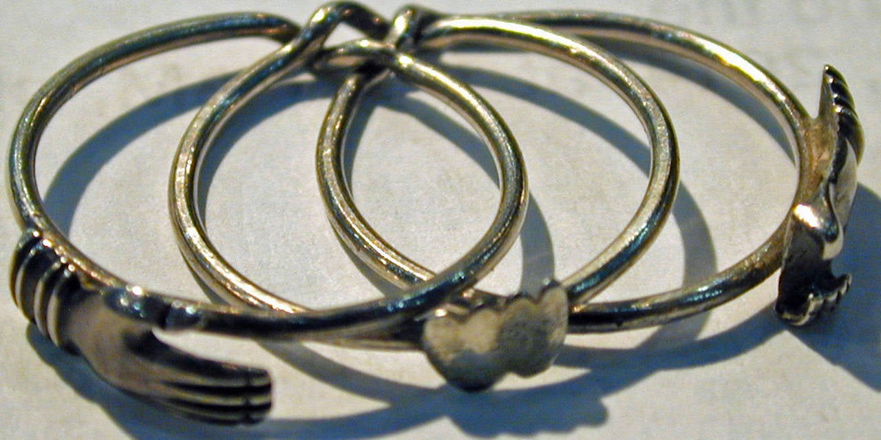 Antique Sterling Betrothal Ring with Clasped Hands over a heart 5