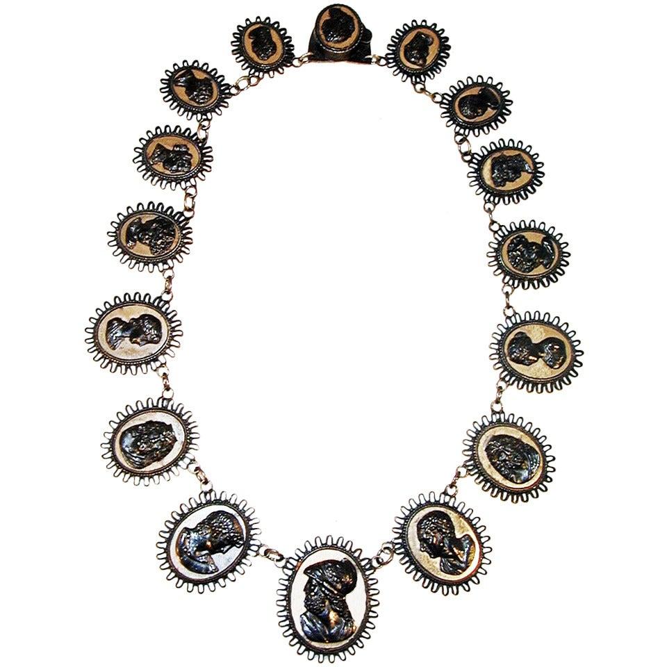 Antique Berlin Iron Cameo Necklace, circa 1815