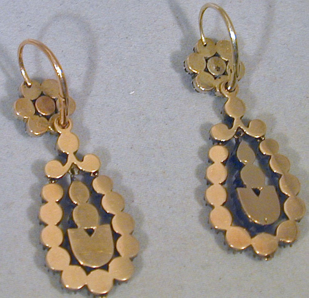 Antique Jargoon Earrings Set in Silver and Gold For Sale 3
