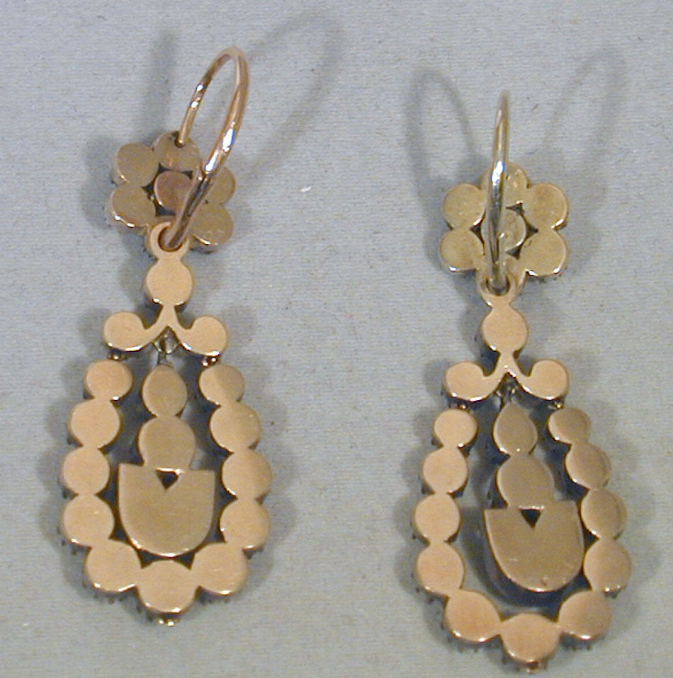 Antique Jargoon Earrings Set in Silver and Gold For Sale 2