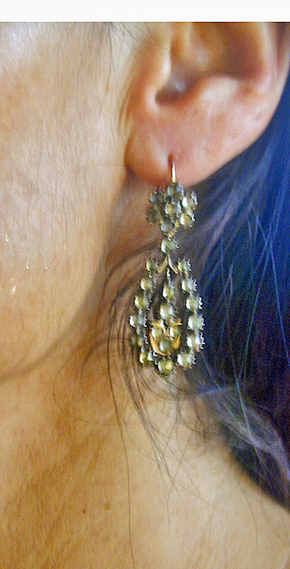 Antique Jargoon Earrings Set in Silver and Gold For Sale 4