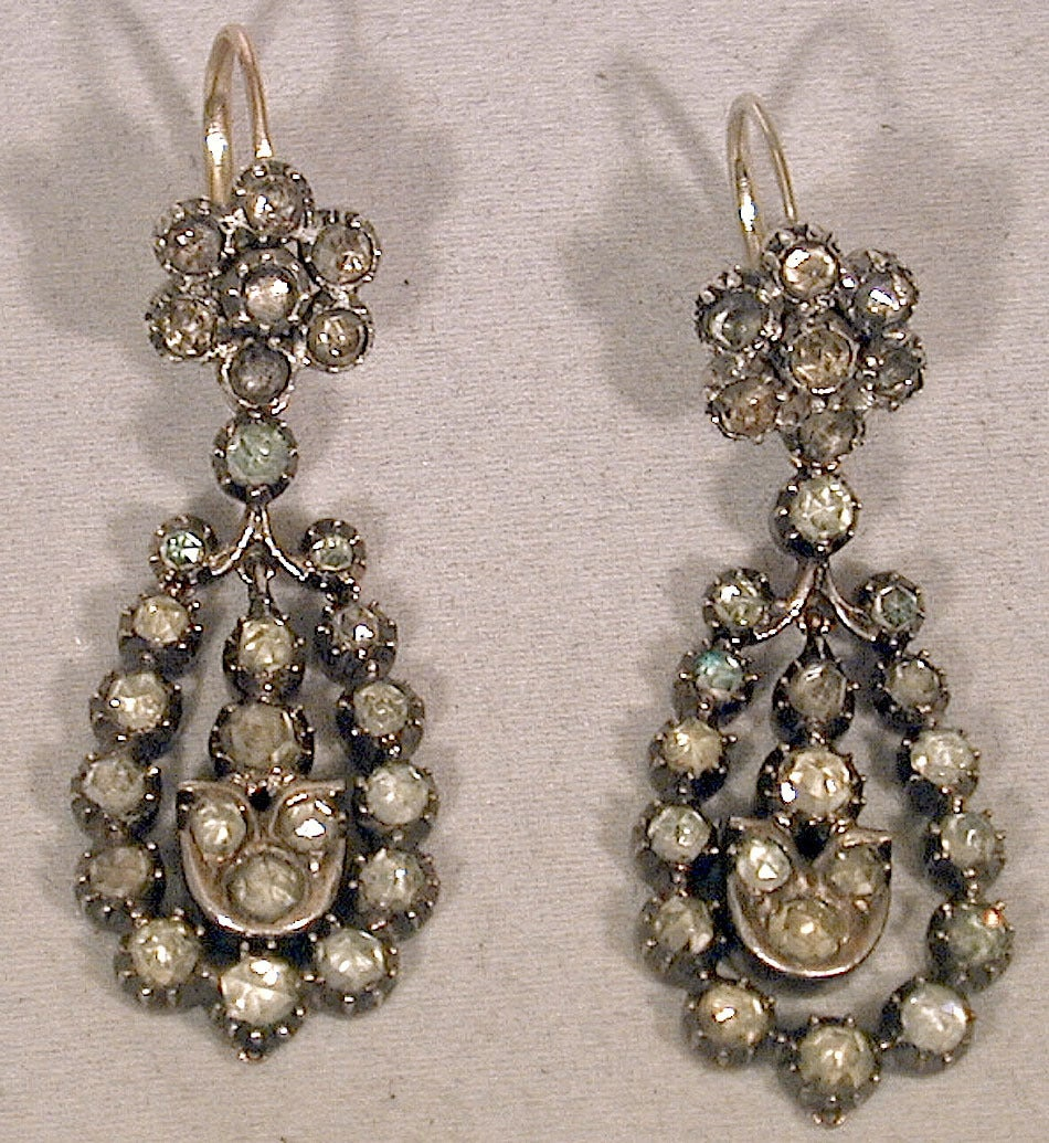 Antique Jargoon Earrings Set in Silver and Gold In Excellent Condition For Sale In Baltimore, MD