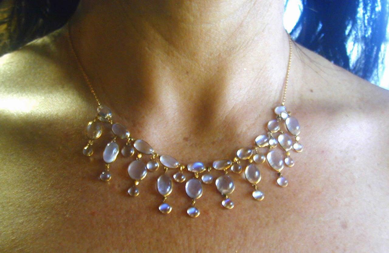 Edwardian Dazzling Antique Moonstone Drop Gold Necklace 6