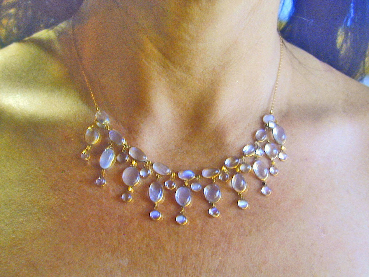 Edwardian Dazzling Antique Moonstone Drop Gold Necklace 7