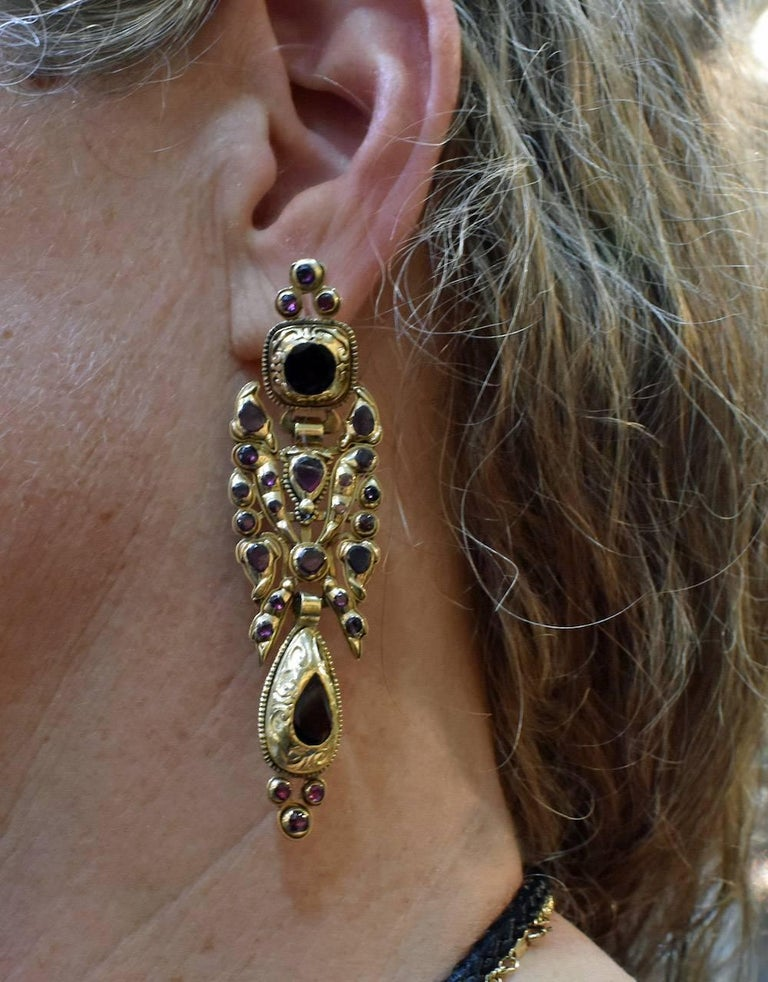 Catalan Style 18K and Garnet Earrings For Sale 4