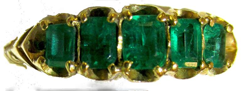 Antique Five Stone Emerald Ring 3