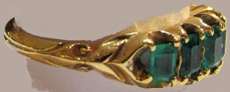Antique Five Stone Emerald Ring 6