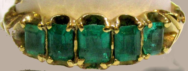 Antique Five Stone Emerald Ring 5