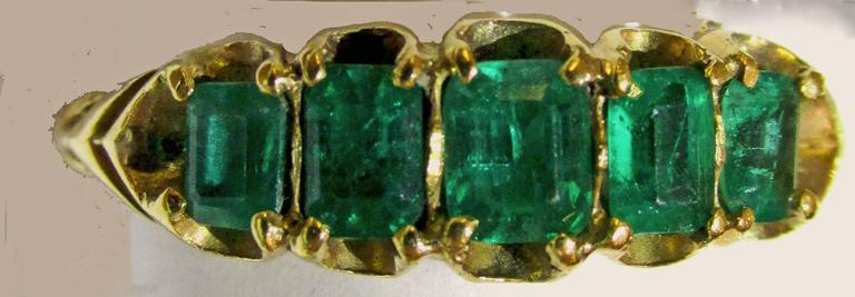 Antique Five Stone Emerald Ring 4