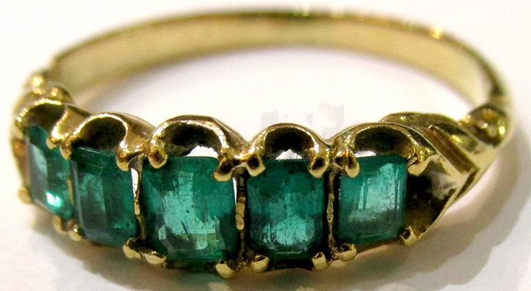 Antique Five Stone Emerald Ring 2