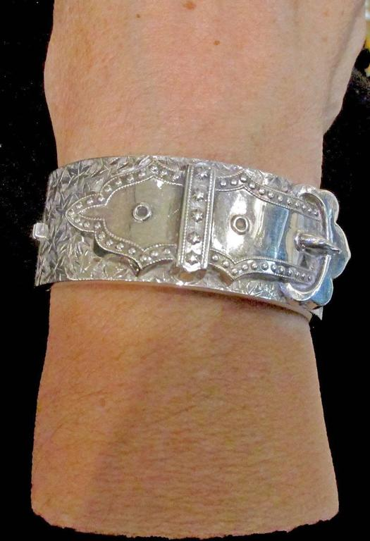 Antique Sterling Silver Buckle Bracelet 9