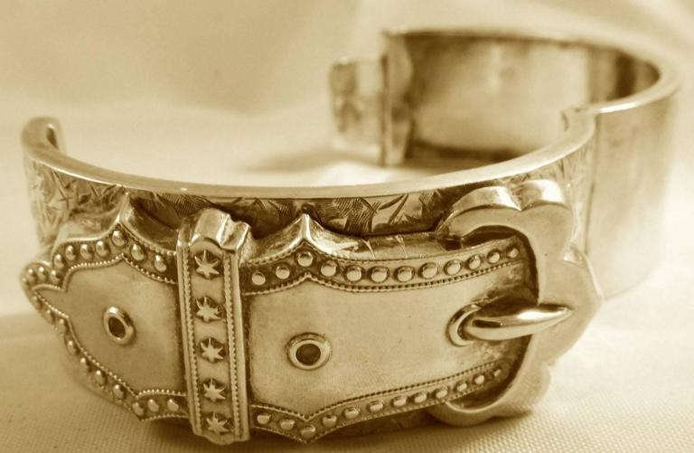 Antique Sterling Silver Buckle Bracelet 6