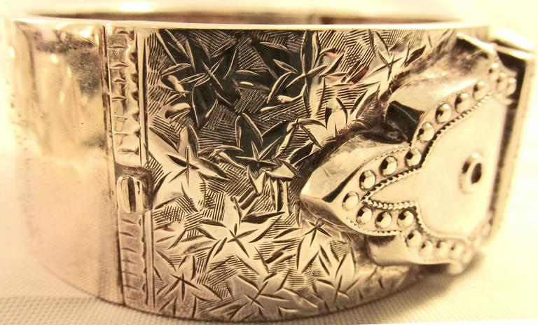 Antique Sterling Silver Buckle Bracelet 3