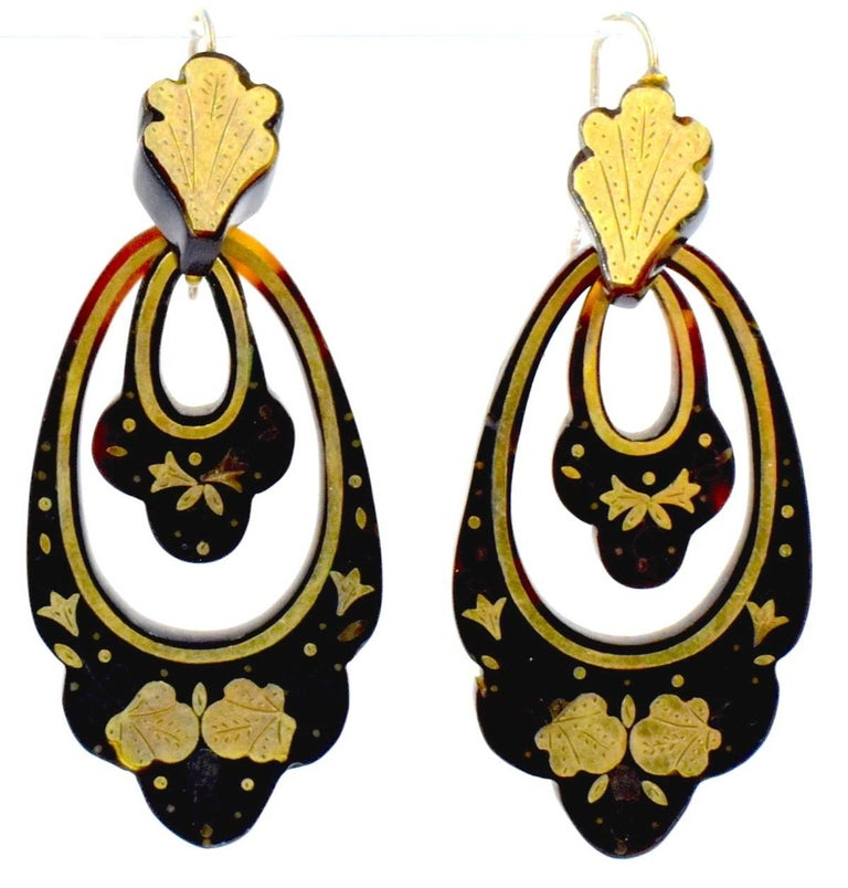 Antique Pique and Gold Earrings