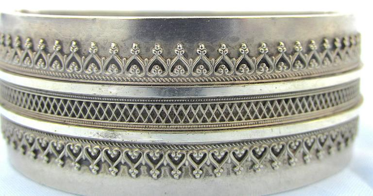 """Delightful Victorian sterling cuff bracelet with an intricate filigree design. Cuff bracelets were very popular during the Victorian era and continue today to be desirable. This bracelet measures 1"""" wide and had an inner circumference of 6"""