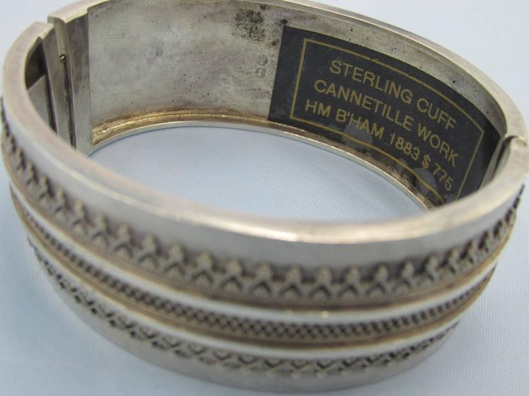 Victorian Antique Silver Cuff Bracelet For Sale