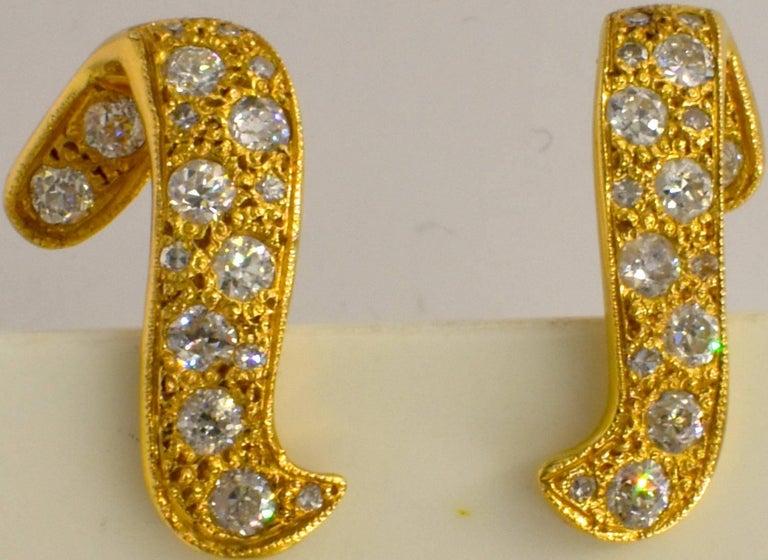 Modern 14 Karat Gold and Diamond Earrings For Sale