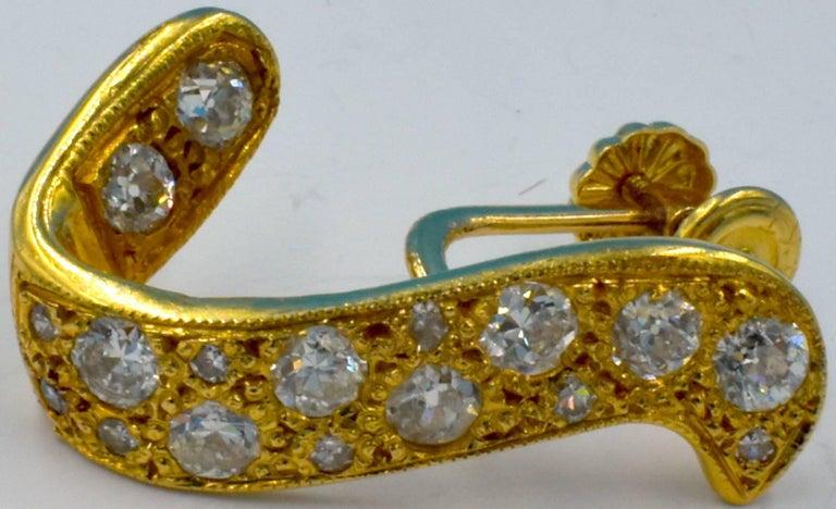 14 Karat Gold and Diamond Earrings For Sale 4