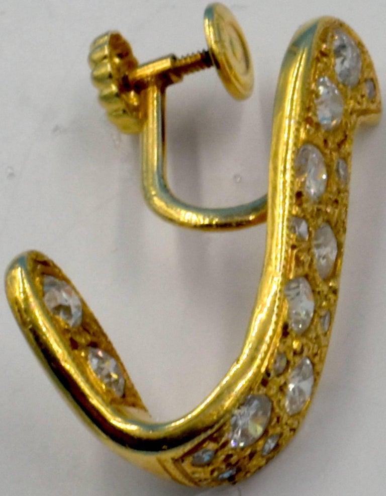 14 Karat Gold and Diamond Earrings For Sale 5