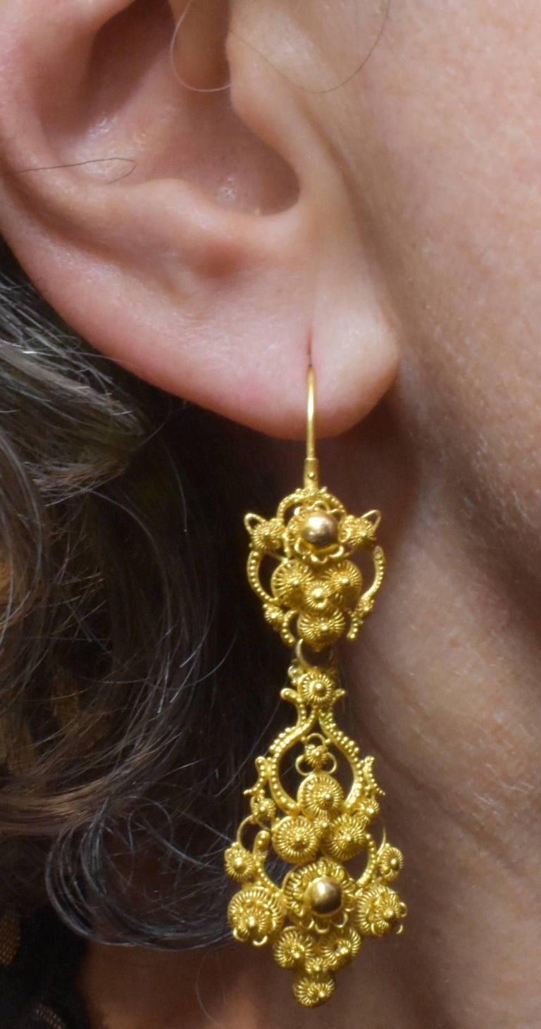 Antique 18 Karat Gold Cannetille Earrings For Sale 5