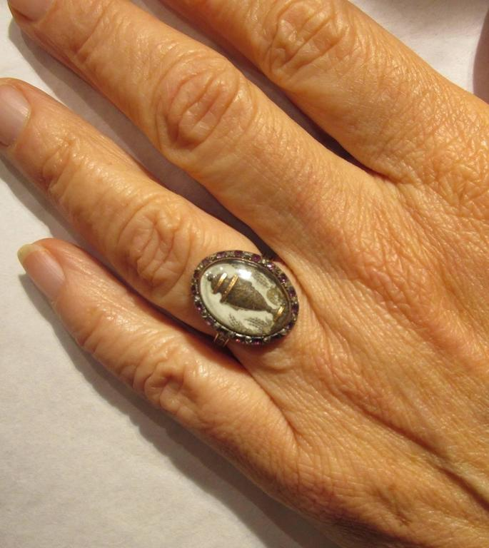 18th C. Urn Motif Memorial Ring with Diamond & Amethyst Surround 4