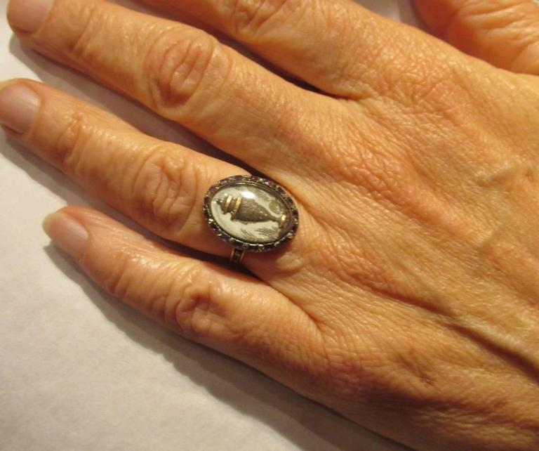 18th C. Urn Motif Memorial Ring with Diamond & Amethyst Surround 3
