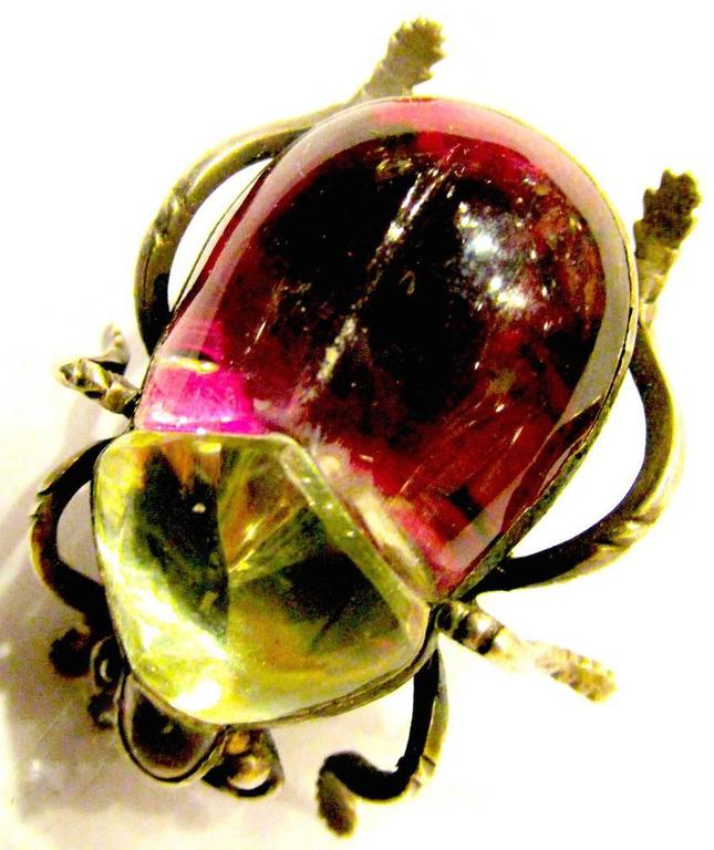 Antique Rock Crystal Bug Pin For Sale 1