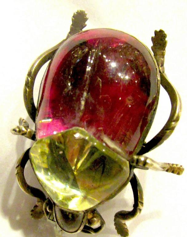 Antique Rock Crystal Bug Pin For Sale 4