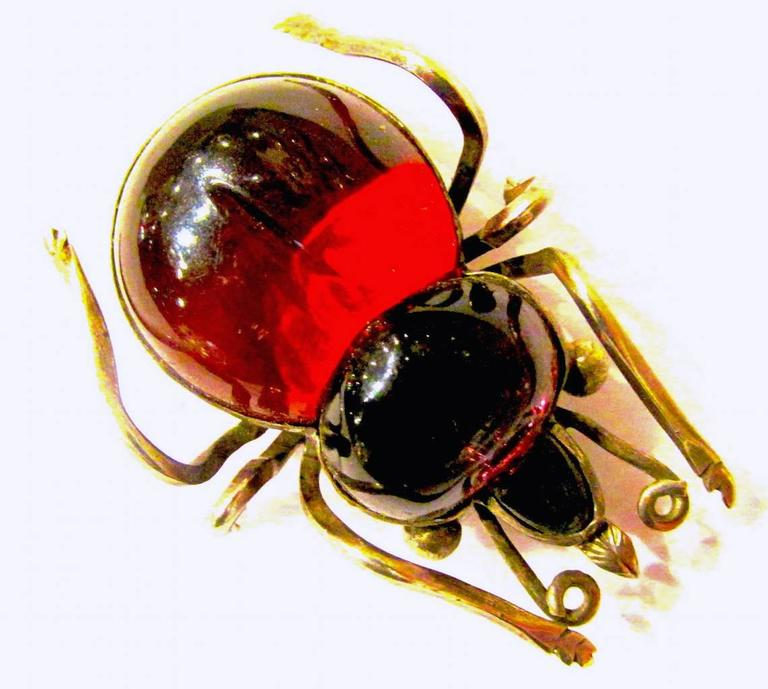 Antique Rock Crystal Bug Brooch 4
