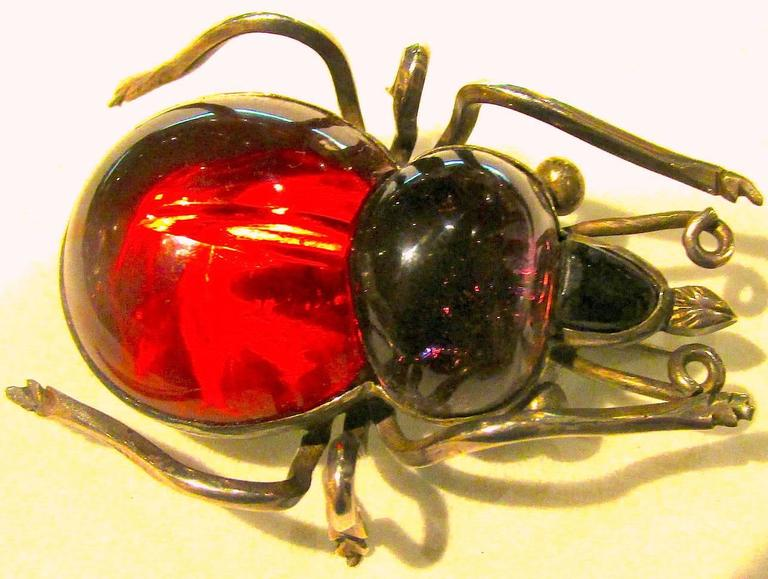 Antique Rock Crystal Bug Brooch 6