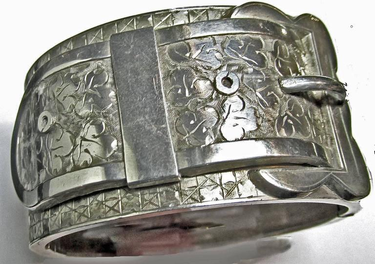 Women's Antique Victorian Sterling Silver Buckle Motif Cuff Bracelet For Sale