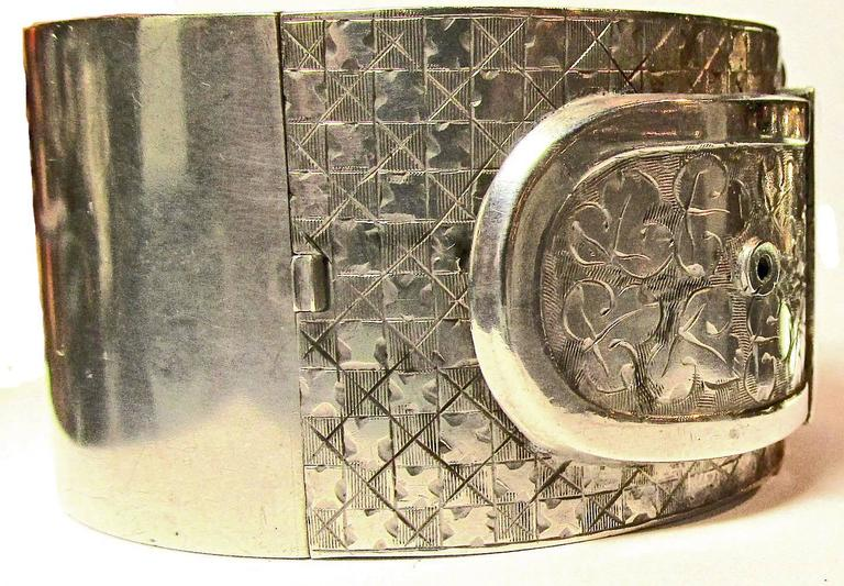 Antique Victorian Sterling Silver Buckle Motif Cuff Bracelet For Sale 2
