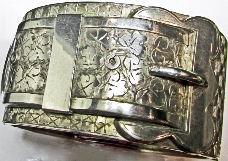 Antique Victorian Sterling Silver Buckle Motif Cuff Bracelet For Sale 1