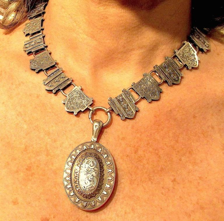 Antique Sterling Silver Necklace with Silver and Gold Locket For Sale 1