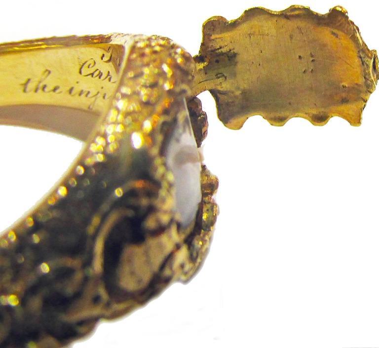 Antique Gold Memorial Ring Caroline of Brunswick Wife of George IV 9