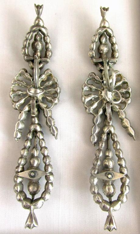 Antique  Portuguese Paste and Silver Earrings For Sale 3