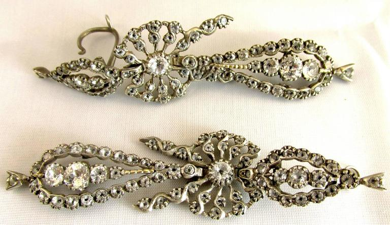 Antique  Portuguese Paste and Silver Earrings For Sale 1