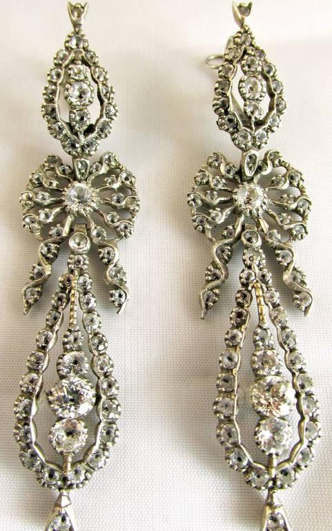 Rococo Antique  Portuguese Paste and Silver Earrings For Sale