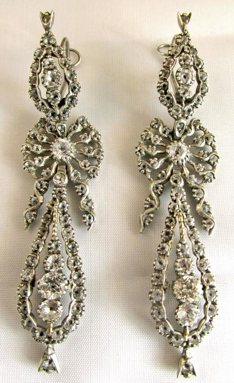 Antique  Portuguese Paste and Silver Earrings In Excellent Condition For Sale In Baltimore, MD