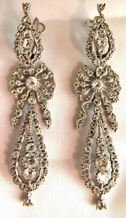 Women's Antique  Portuguese Paste and Silver Earrings For Sale