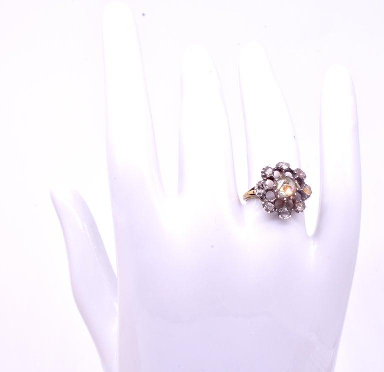 Rose Cut Georgian Dutch Crown Rose Diamond Cluster Ring, 18K For Sale