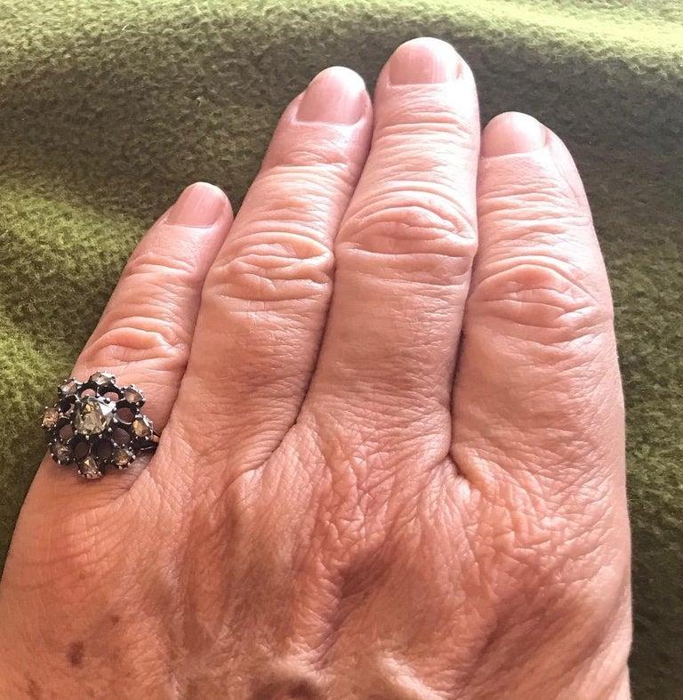 Georgian Dutch Crown Rose Diamond Cluster Ring, 18K For Sale 1