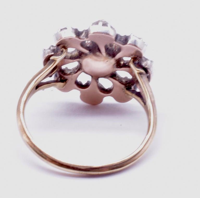 Georgian Dutch Crown Rose Diamond Cluster Ring, 18K For Sale 2