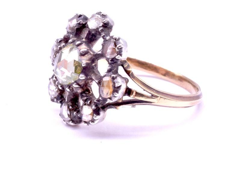 Georgian Dutch Crown Rose Diamond Cluster Ring, 18K For Sale 4