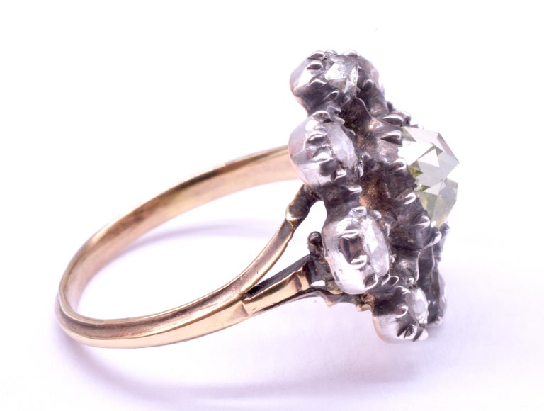 Georgian Dutch Crown Rose Diamond Cluster Ring, 18K For Sale 5