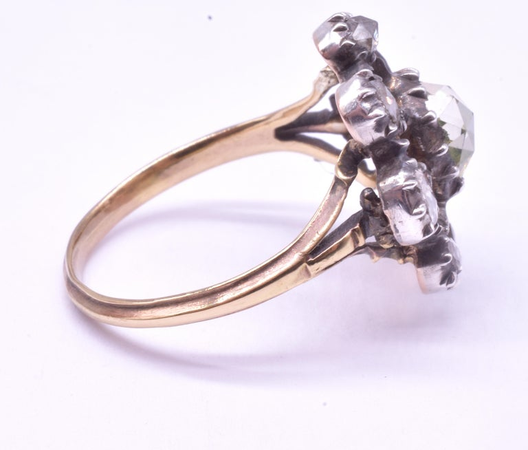 Georgian Dutch Crown Rose Diamond Cluster Ring, 18K For Sale 3